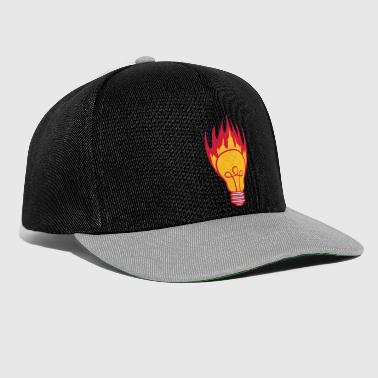 hot fire flames burning light bulb light electricity - Snapback Cap