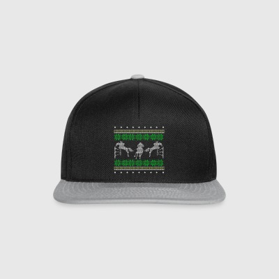 show jumping ugly sweater xmas gift riding - Snapback Cap