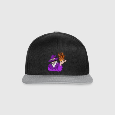 Willpower Wizard Purple / Red / Orange Flame - No Text - Snapback Cap