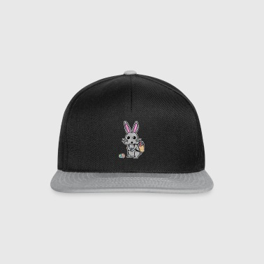 cute gray rabbit with pink ears and egg basket - Snapback Cap