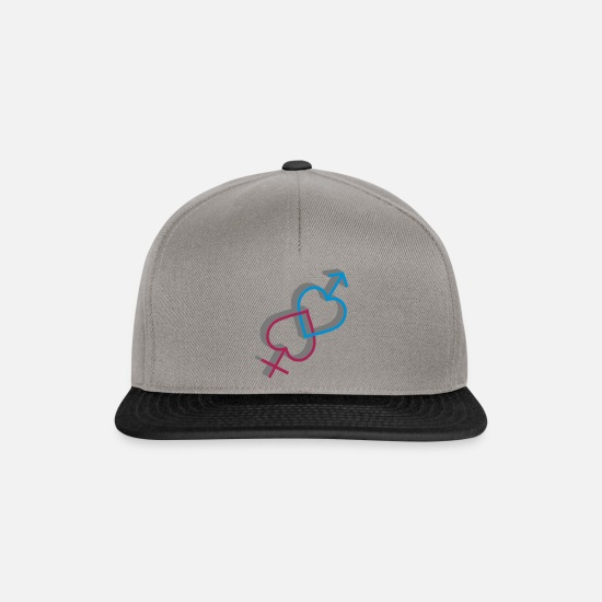 Symbol  Caps & Hats - Male Female intertwined as a heart - Snapback Cap graphite/black
