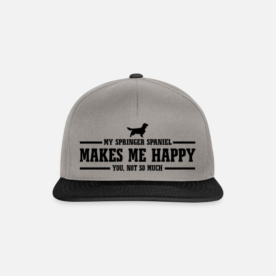 Dog Owner Caps & Hats - SPRINGER SPANIEL makes me happy - Snapback Cap graphite/black