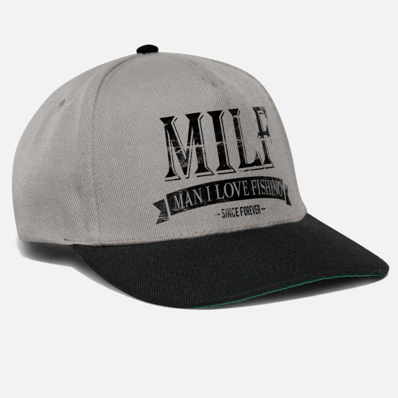 Fisherman Caps & Hats - MILF / Man I Love Fishing / black grunge - Snapback Cap graphite/black