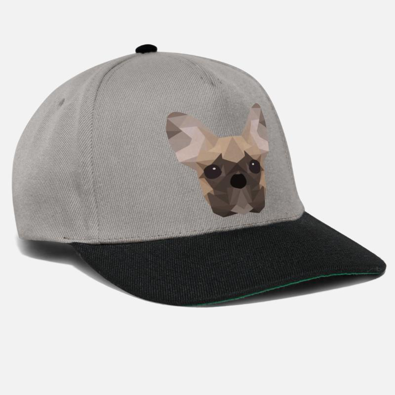 French Caps & Hats - French Bulldog Low Poly - Snapback Cap graphite/black