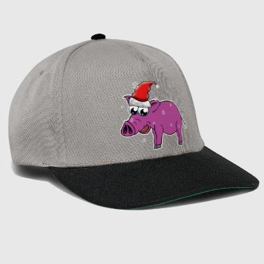 Pig with santa hat and snow, gift idea - Snapback Cap