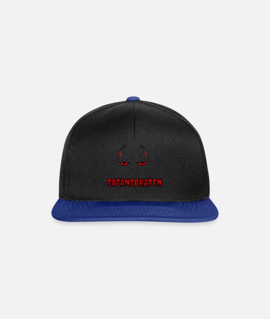 Devil Caps & Hats - Satan's roast, devil's head, horns, eyes - Satan - Snapback Cap black/bright royal