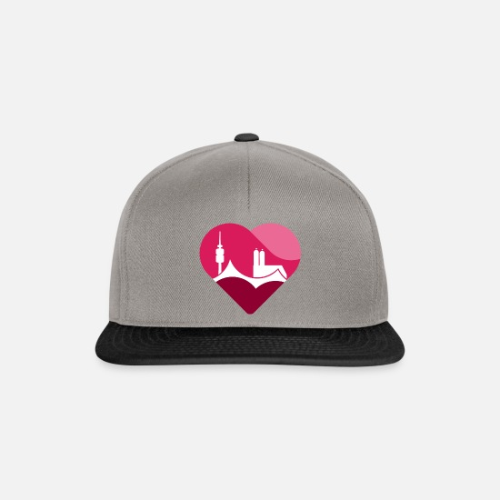 Munich Caps & Hats - Munich heart - Snapback Cap graphite/black