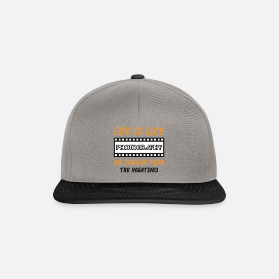 Love Caps & Hats - Life is like photography - Snapback Cap graphite/black