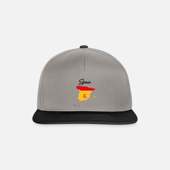National Team Caps & Hats - Spain National Map Flag National Gift - Snapback Cap graphite/black