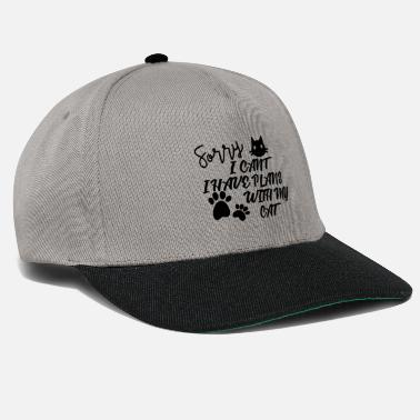 Domestic Cat Sorry i can`t have plans with my cat gift - Snapback Cap
