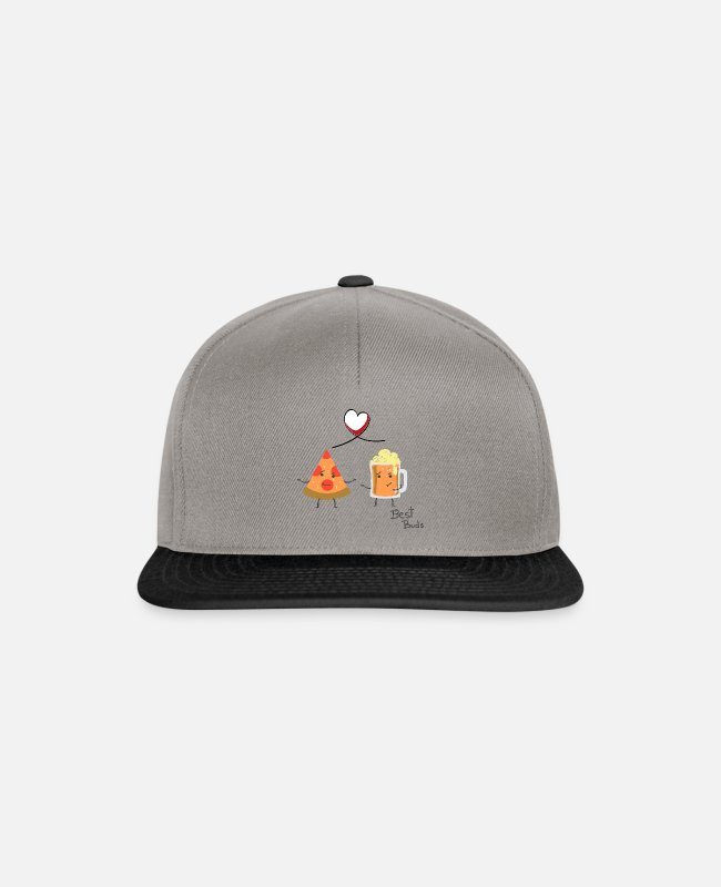 Pizza Caps & Hats - Pizza and Beer - Best Buds - Leibl Designs - Snapback Cap graphite/black