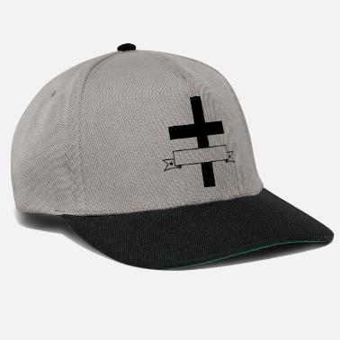 Name Tag write banner text box name cross god believe - Snapback Cap