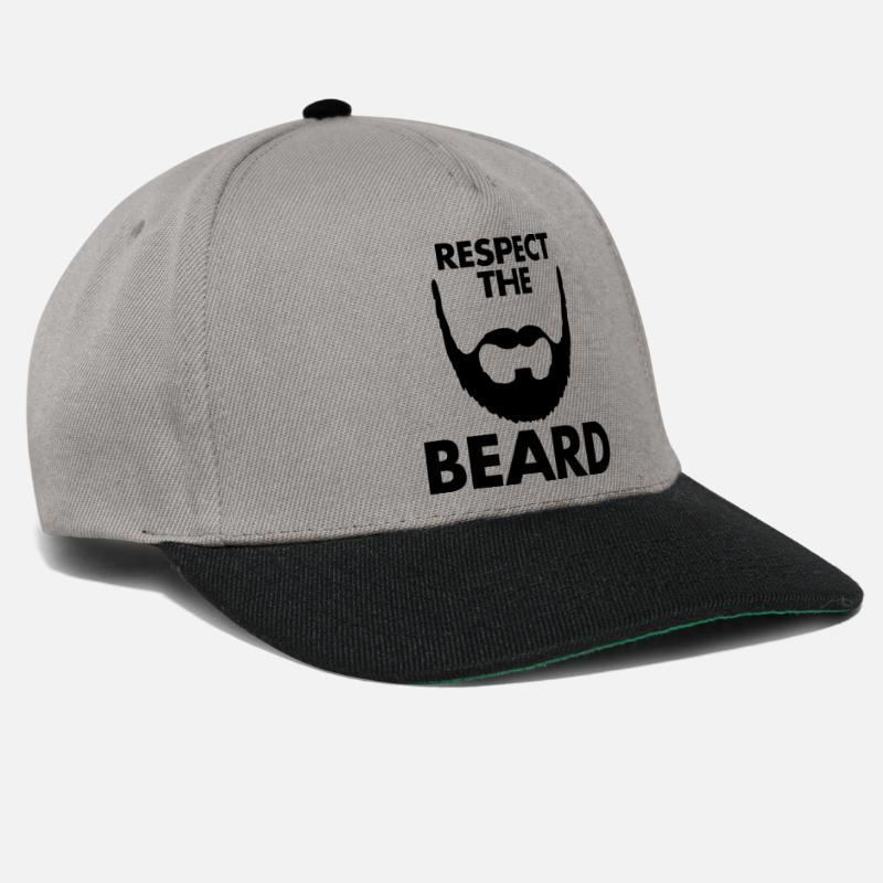 Cool Caps & Hats - Respect The Beard - Snapback Cap graphite/black