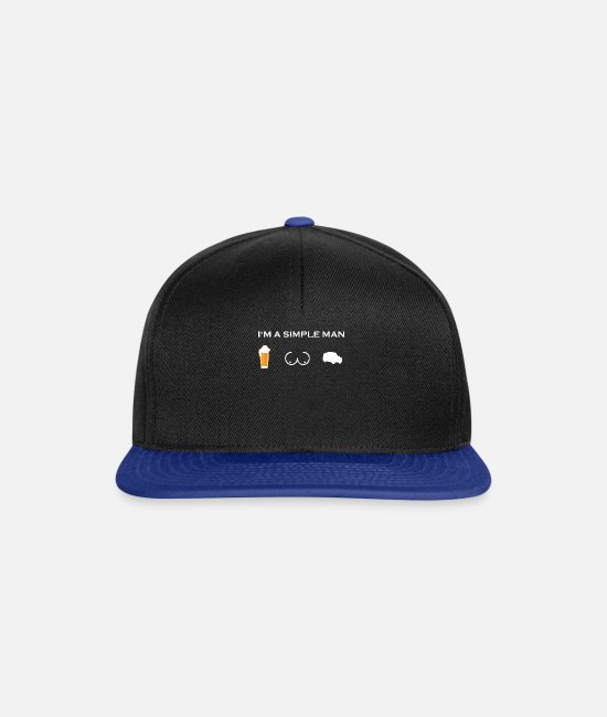 Husband Caps & Hats - simple man like boobs beer beer tits rescue - Snapback Cap black/bright royal