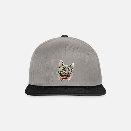 Watercolour Caps & Hats - Black cat watercolour portrait - Snapback Cap graphite/black