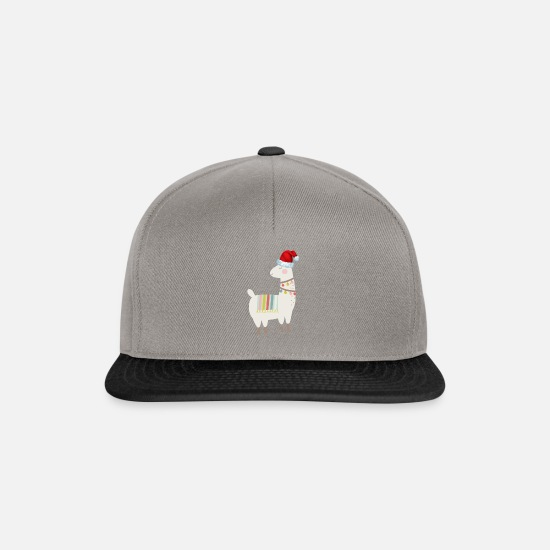 Boy Caps & Hats - Llama Animal Christmas Day Winter Season Santa - Snapback Cap graphite/black
