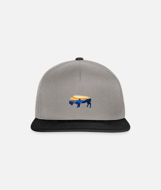 Nature Caps & Hats - Buffalo American bison - Snapback Cap graphite/black