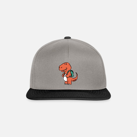 Strong Caps & Hats - Dino T-Rex school kid backpack cartoon gift - Snapback Cap graphite/black