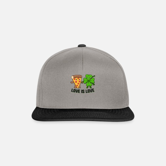 Kærlighed Kasketter & huer - Love Is Love Pizza Shamrock St. Patrick's Day - Snapback cap grafitgrå/sort