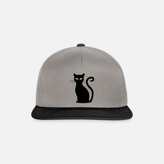 Love Caps & Hats - Cat with long whiskers and googly eyes - Snapback Cap graphite/black
