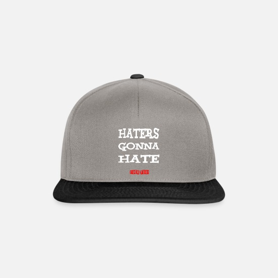 "Fuck You Caps & Hats - ""Haters gonna hate - fuck you!"" White-red - Snapback Cap graphite/black"