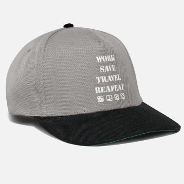 Weltkarte WORK SAVE TRAVEL REPEAT - Snapback Cap