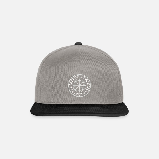 Viking Caps & Hats - compass norse viking warrior odin thor barbar whit - Snapback Cap graphite/black