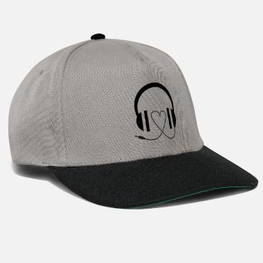 Drum N Bass Heart under headphones - Snapback Cap