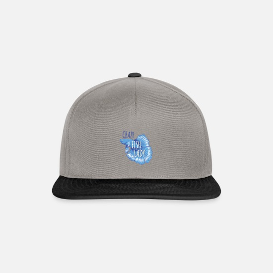 Pet Caps & Hats - Crazy fish lady with Japanese fighting fish - Snapback Cap graphite/black