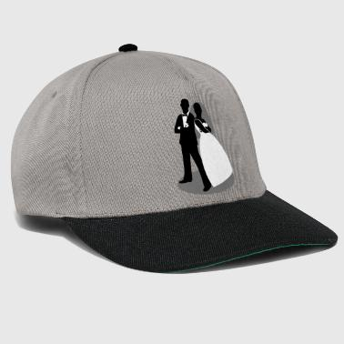 cool bride and groom as silhouette figures - Snapback Cap
