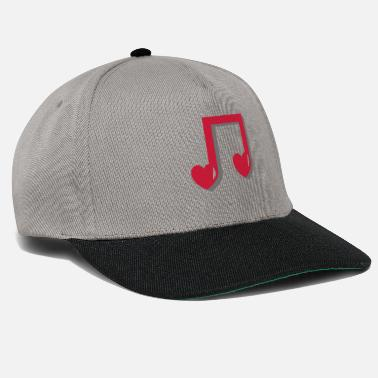 Music Note Musical note with heart - music, notes, note, red - Snapback Cap