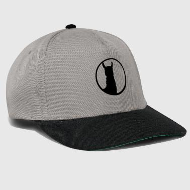 black button logo round circle silhouette outline l - Snapback Cap
