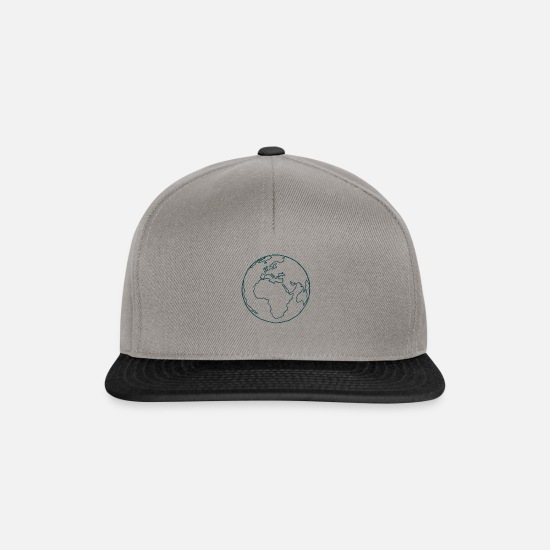 Drawing Caps & Hats - planet earth drawing draw blue symbol trace g - Snapback Cap graphite/black