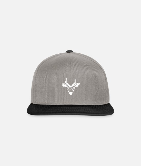 Stag Caps & Hats - Antelope head Animalis - Snapback Cap graphite/black