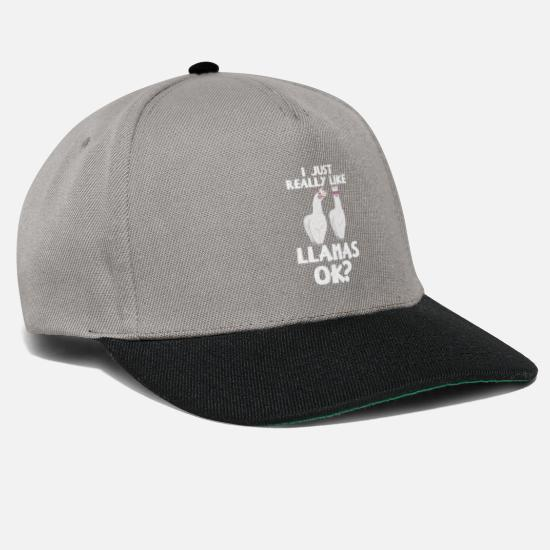 Reggae Caps & Hats - I Just Really Like Llamas Ok Vintage Alpaca Llama - Snapback Cap graphite/black
