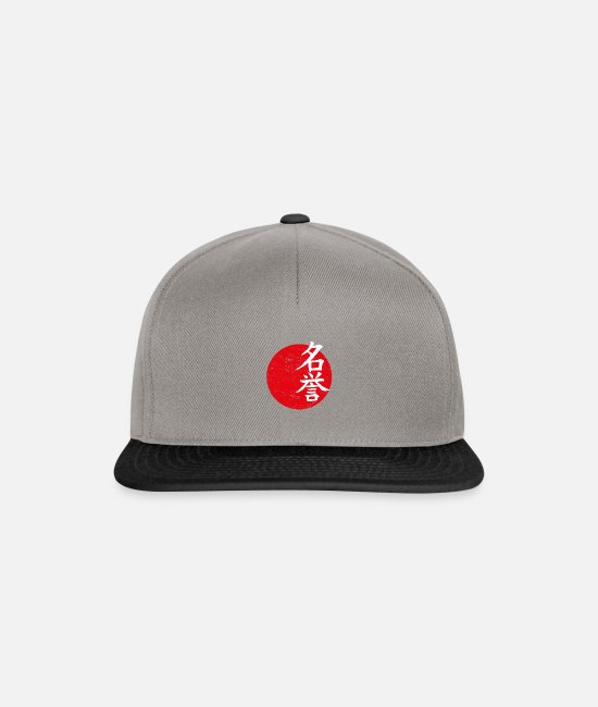 Typography Caps & Hats - Honorable Japanese flag Japan sign - Snapback Cap graphite/black