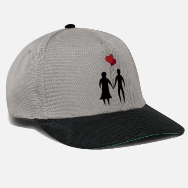 Couple at the wedding with balloons as a heart - Snapback Cap