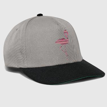 stripes lines pattern silhouette outline flamingo - Snapback Cap