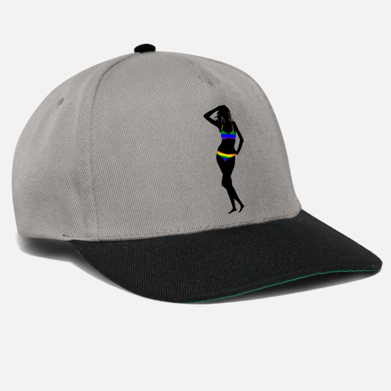 Gift Idea Caps & Hats - Woman in bikini silhouette rainbow lesbian - Snapback Cap graphite/black