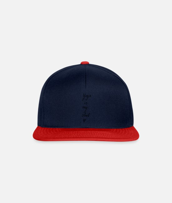 Hipster Caps & Hats - Yoga is my shit (gray) - Snapback Cap navy/red