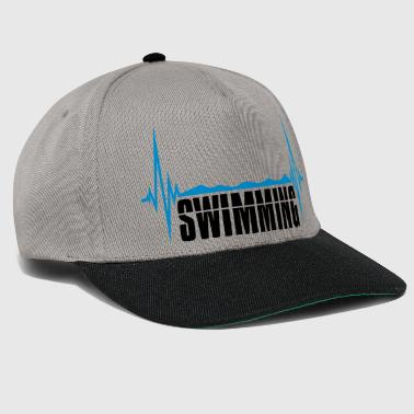 swimming water frequency heart beat pulse swimming - Snapback Cap