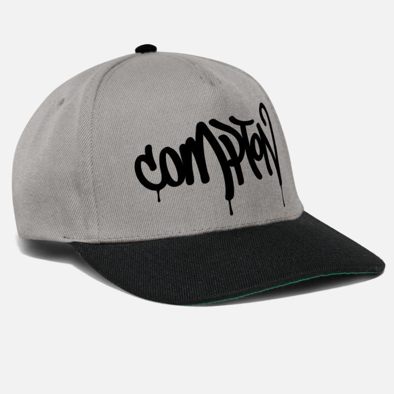 Compton Gorras y gorros - COMPTON - Gorra snapback gris grafito negro a344e56e0d1