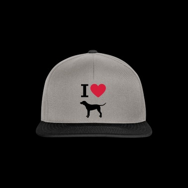I love dogs, german shorthair heart silhouette - Snapback Cap