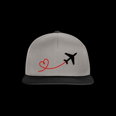 Airplane aviator with heart in black red - Snapback Cap