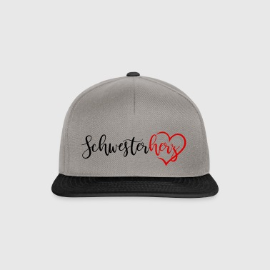Sister heart with heart in red black - Snapback Cap