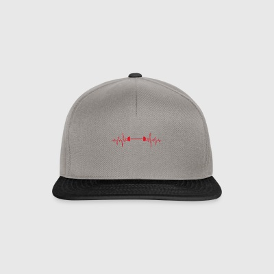 Weight lifting barbell heartbeat ECG gift - Snapback Cap