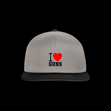 I love guns! Weapons satire. Bullet hole with blood - Snapback Cap