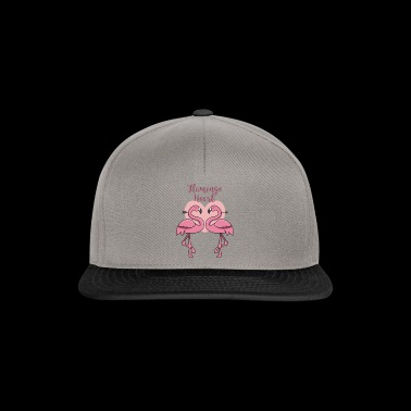 Heart flamingo couple gift in love tropical pink - Snapback Cap