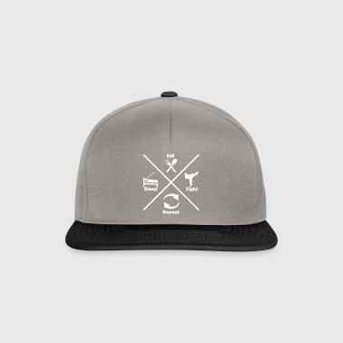 Eat sleep fight repeat Eating sleep fighting - Snapback Cap