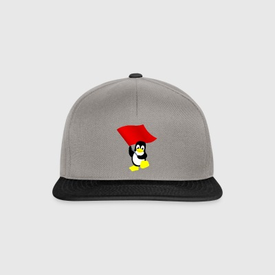 Tux with red flag - Snapback Cap